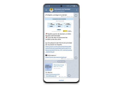 Canal de Telegram del Ministerio de Sanidad
