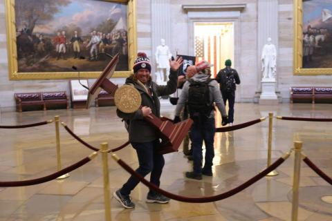 Protesters enter the US Capitol Building.