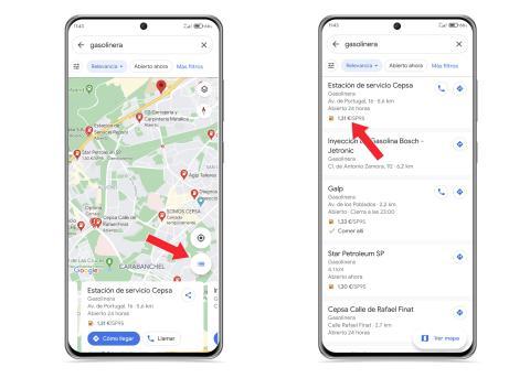 Gasolineras baratas en Google Maps