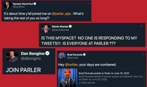 Algunos tuits promoviendo el traslado a Parler.