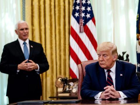 Pence y el presidente Donald Trump en la Oficina Oval, septiembre de 2020.