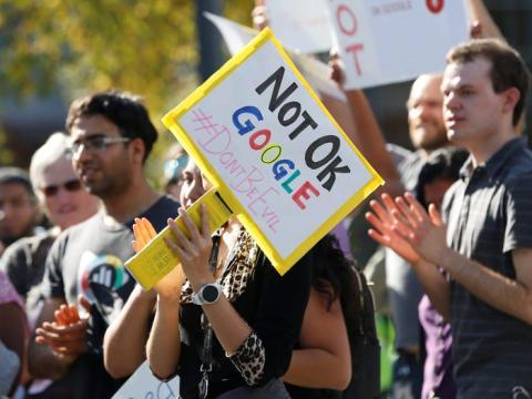 Protesta de trabajadores de Google en 2018