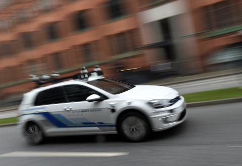 Prueba de un vehículo autónomo de Volkswagen en Hamburgo (Alemania) en 2019