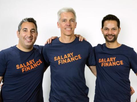 Los fundadores de Salary Finance Asesh Sarkar, Daniel Shakhani y Dan Cobley.