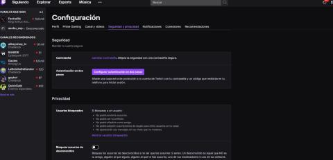 Twitch configuración