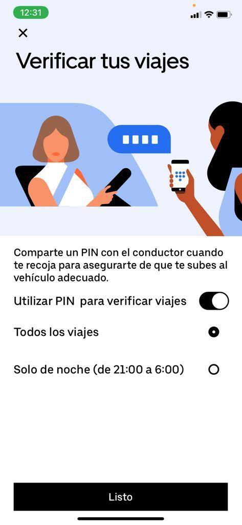 La opción 'Verifica tu viaje' dentro de la aplicación de Uber.