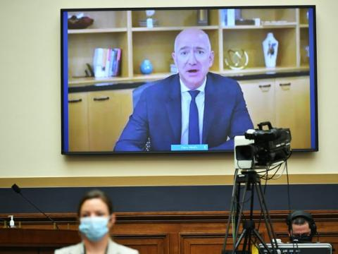 Jeff Bezos, en su intervención durante la sesión antimonopolio del Congreso de los EEUU.
