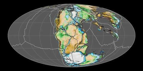 Este mapa muestra cómo era Pangea hace 200 millones de años, con los límites de las placas tectónicas en blanco.