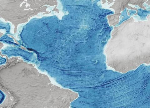 Este mapa muestra el suelo del Océano Atlántico.