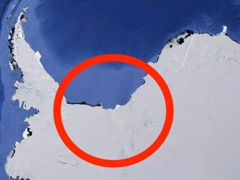 Una imagen de satélite de la plataforma de hielo Filchner-Ronne.
