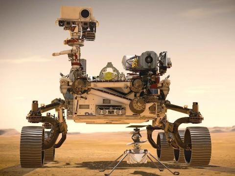 Ilustración de un artista del rover Perseverance de la NASA y del helicóptero Ingenuity en Marte.