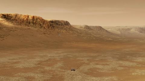 Una ilustración del Perseverance explorando el cráter Jezero de Marte.