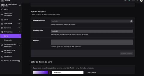 Completar perfil de Twitch