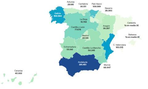 Demanda potencial de vivienda en cada comunidad autónoma para alcanzar la media de alquiler de la UE.