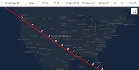 Trayectoria de Apophis sobre Estados Unidos el 21 de febrero.