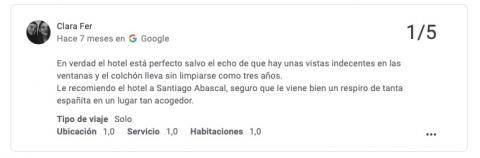 Reseña Google hotel Cecil