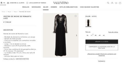 Vestido de noche de la firma Valentino