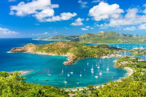 Vista aérea de las Islas Antigua y Barbuda.