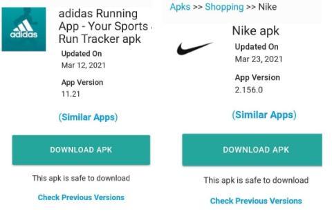aplicaciones Nike y Adidas