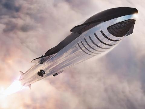 Una ilustración de la nave espacial Starship de SpaceX y el cohete propulsor Super Heavy, lanzándose juntos hacia el espacio.