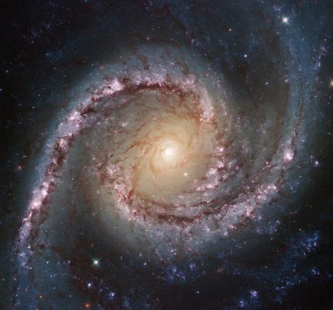 La galaxia espiral NGC 1566, fotografiada por el telescopio Hubble de la NASA.