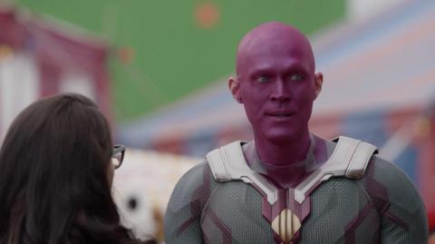 Paul Bettany en una escena del episodio 7 de 'Wandavision' antes de los efectos especiales.