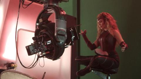 Elizabeth Olsen en el episodio 9 de 'Wandavision' durante la grabación.