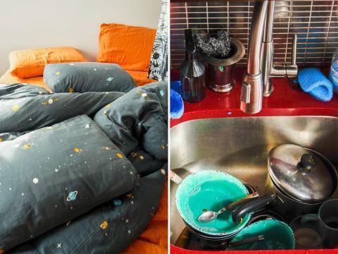 Una cama deshecha o un fregadero lleno de platos.