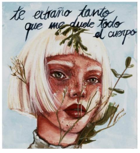 """Dibujo de una adulta, Miriam Pablos López, @maivonren. """"En esta obra se expresa de manera clara y directa la añoranza hacia la persona retratada""""."""