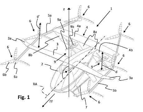 Esquema del nuevo diseño patentado por Volocopter
