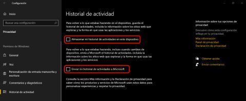 Historial de actividad Windows