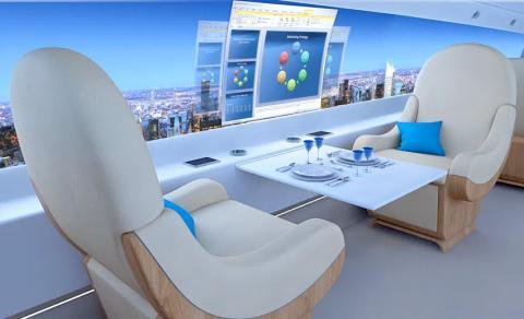 Interior avión supersónico