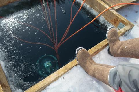 Parte del telescopio Baikal-GVD se hunde bajo las olas del lago Baikal de Rusia.