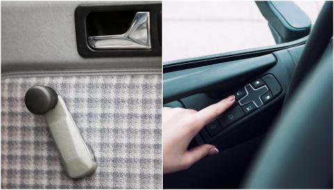 Manivela de la ventanilla del coche vs. botón nuevo.