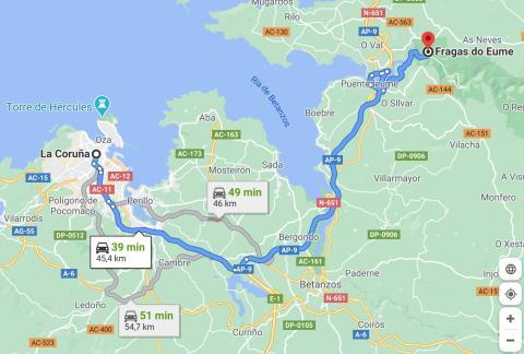 maps ruta A Coruña Fragas do Eume