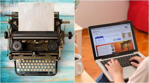 Máquina de escribir vs. ordenador.