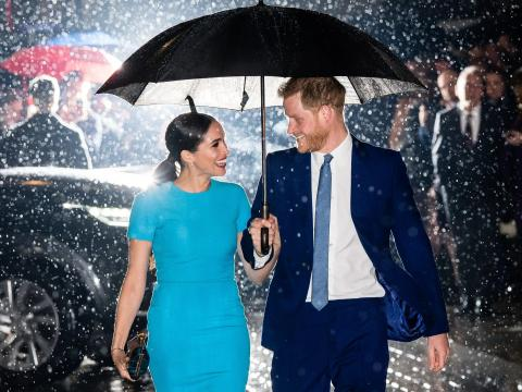 Meghan Markle y el príncipe Harry en marzo de 2020.