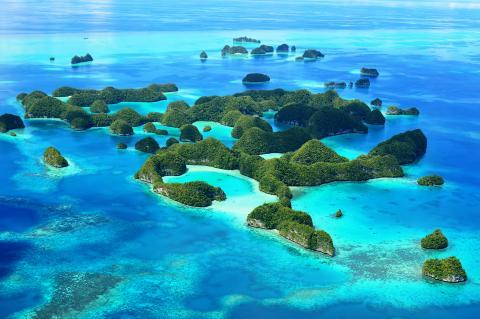 Vista aerea de una las Islas Palaos.