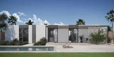 Representación de las viviendas 3D de Rancho Mirage, en California (Estados Unidos).