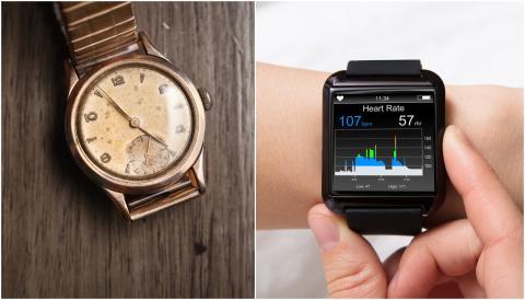 Reloj antiguo vs. smart watch.