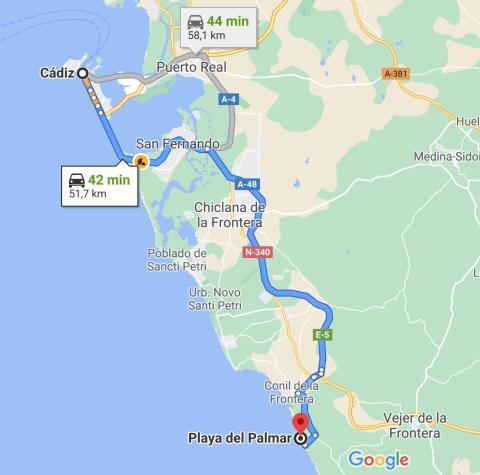 rutas c5 de Cádiz a playa del Palmar