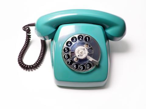 Teléfono vintage de disco.