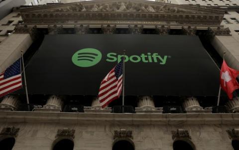 Un anuncio de Spotify en el New York Stock Exchange (Reuters)
