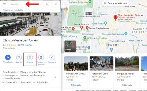 Buscar parques en el Google Maps con las opciones 'Explorar' y 'Cerca'.