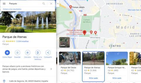 Buscar parques en Google Maps en el ordenador.