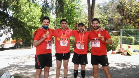 Tras cruzar la meta en el Maratón de Madrid.