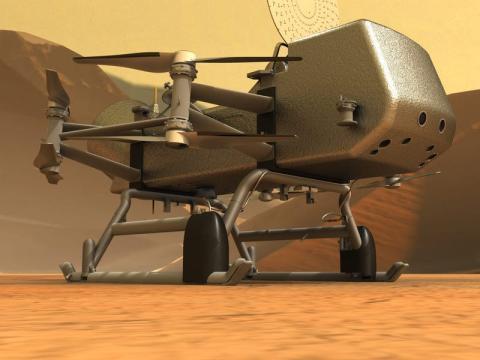Ilustración del helicóptero Dragonfly sobre la superficie de Titán.