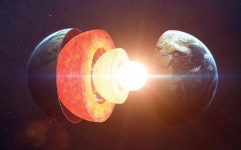 Ilustración de las capas de la Tierra. El manto está en rojo brillante.