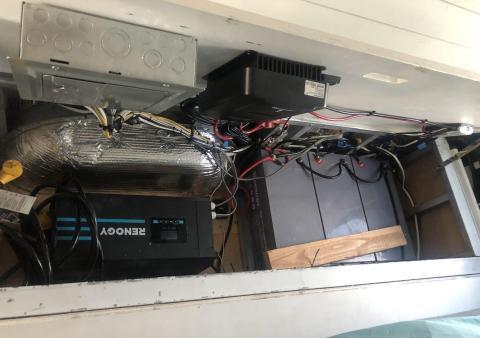 Foto de todos los sistemas que hacen funcionar la autocaravana.