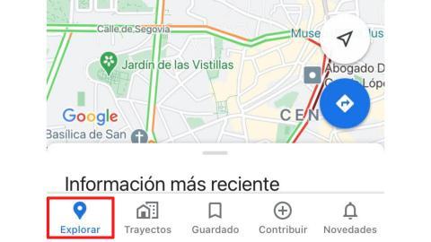 Función 'Explorar' de Google Maps en el móvil.